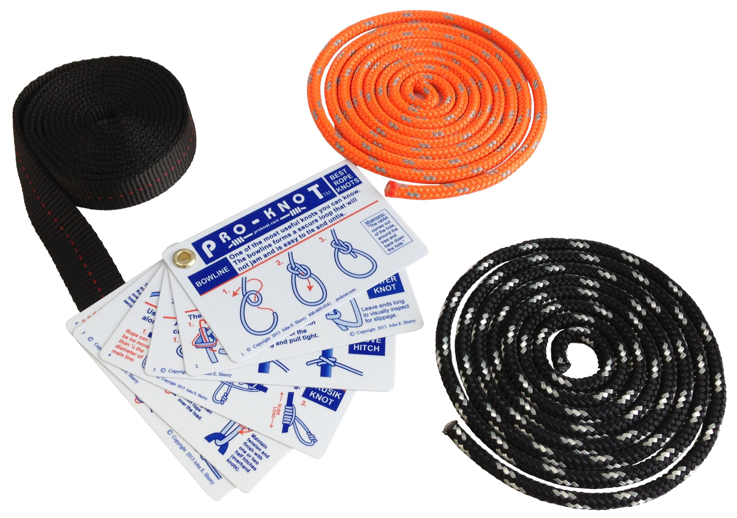 SGT KNOTS Knot Tying Kit - Learn How To Tie Knots Instruction Cards (17) Two (2) 6 feet Lengths of Double Braided Rope, and One (1) 6 foot Length of Nylon Webbing - Guide to Essential Knots