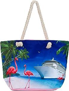 Leisureland Large Beach Tote Bag, Top Zipper Boat Bag (Cruise Ship/Flamingo)