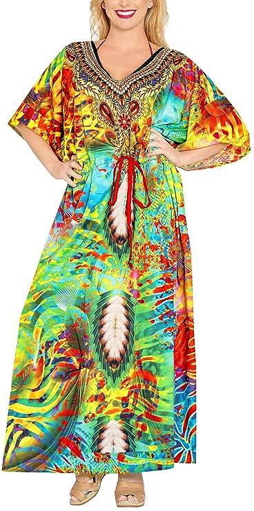 LA LEELA Mujeres caftán túnica 3D HD Impreso Kimono Libre tamaño Largo Abaya Vestido Jalabiyas de Fiesta para Loungewear Ropa de Dormir Playa Todos los días ...