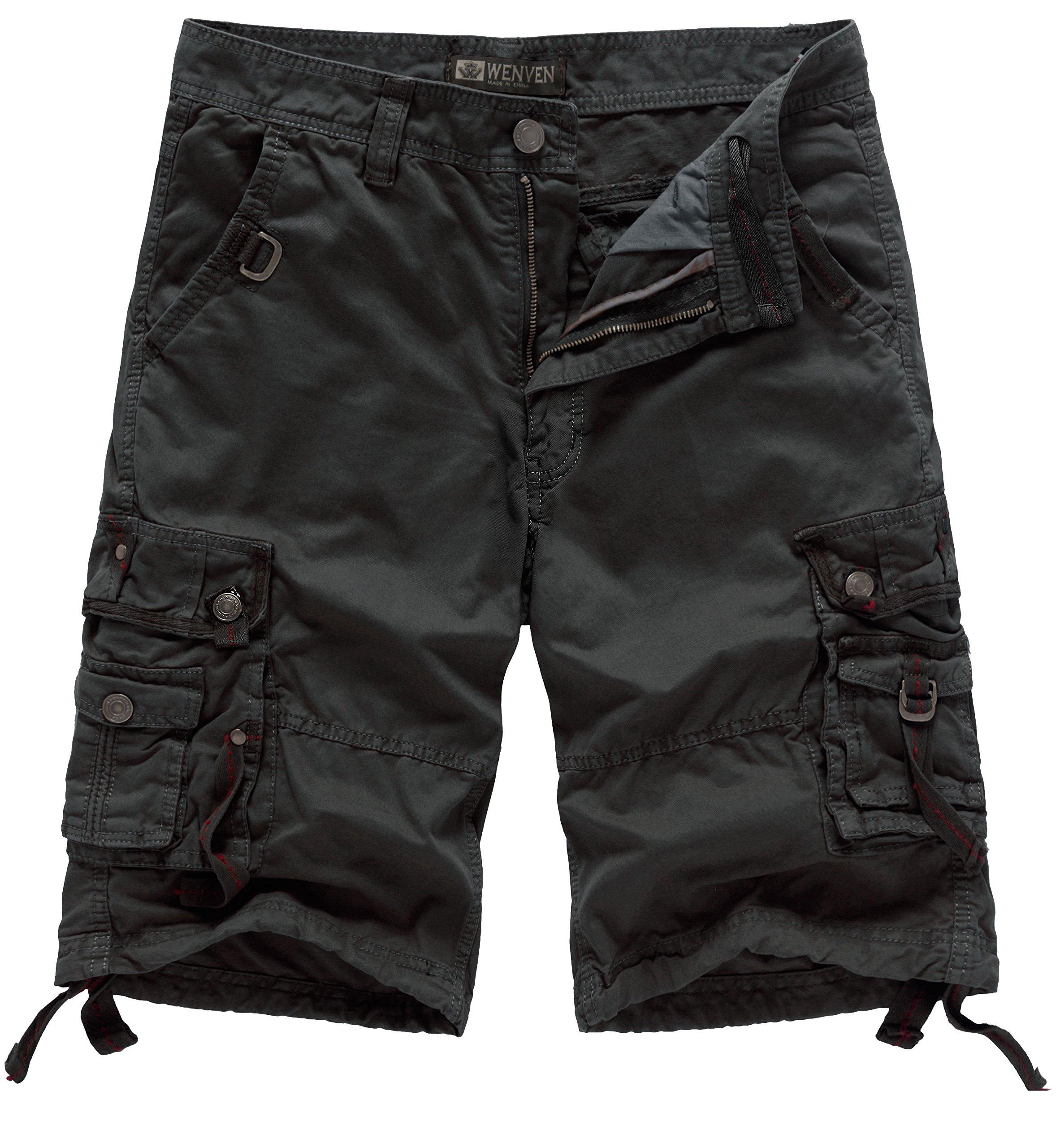 WenVen Men's Casual Cargo Short Pants Military Outdoor Wear Lightweight(WV3233 Light Black,38)