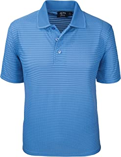 product image for Akwa Made in USA Men's Dry Wicking Polo Shirt with Check Pattern and No-Curl Collar