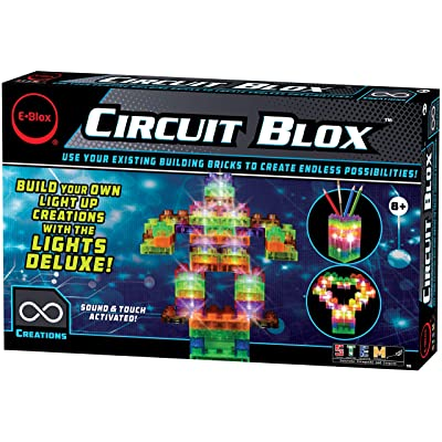 E-Blox Circuit Blox Lights Deluxe Set - Sound and Touch Activated Circuit Board Building Blocks Toys Set for Kids Ages 8+: Toys & Games