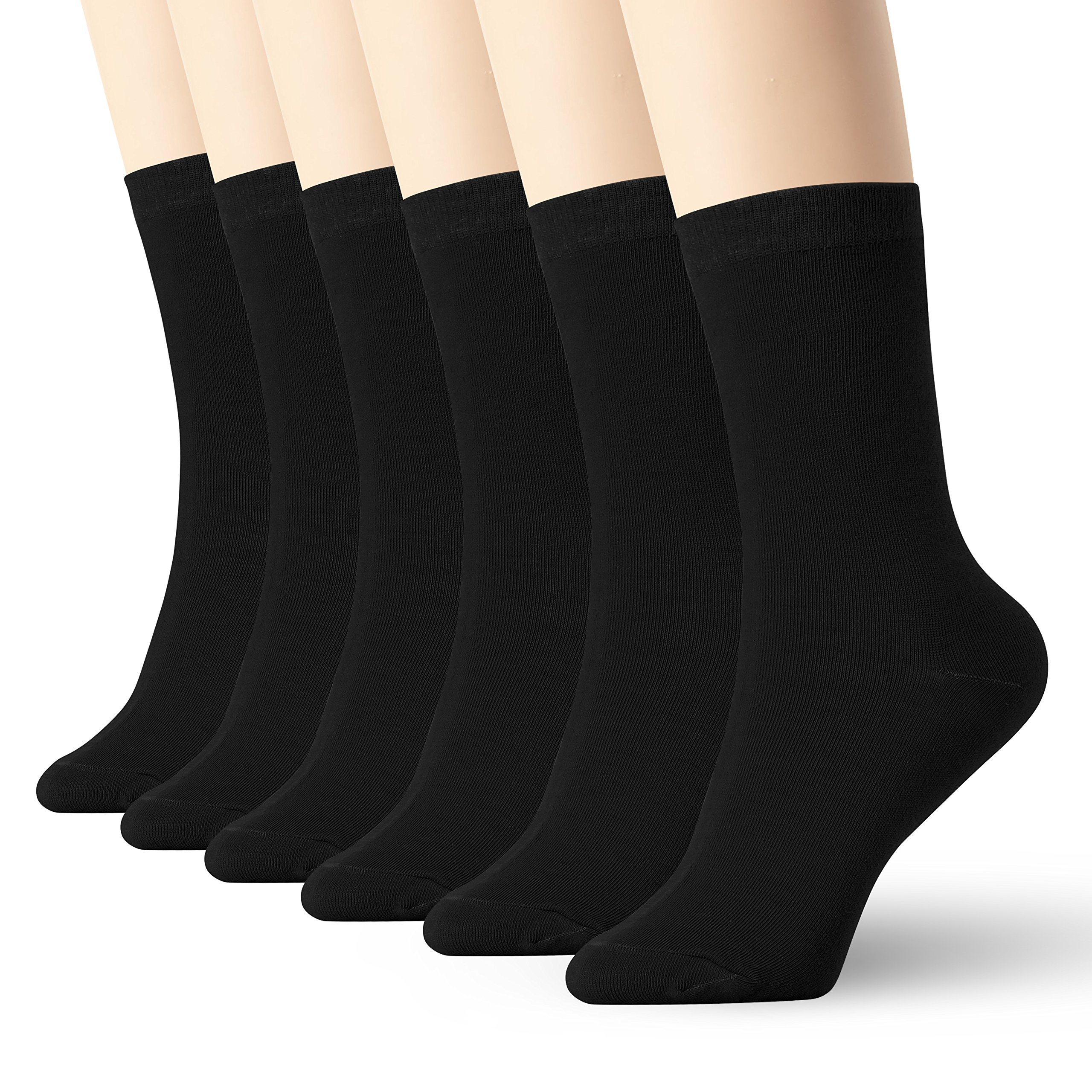 Womens Thin Cotton Socks High Ankle 6 Pack (Black XL Size)