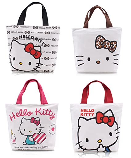 f5fbdccf23d0 Finex - Set of 2 - Hello Kitty Canvas Zippered Tote with Top Carry Handles  - Lunch Box Bag Gym Tote (Random Color)