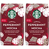 Starbucks Limited Edition Peppermint Mocha, Flavored Ground Coffee, 11 OZ Bag (Pack of 2)