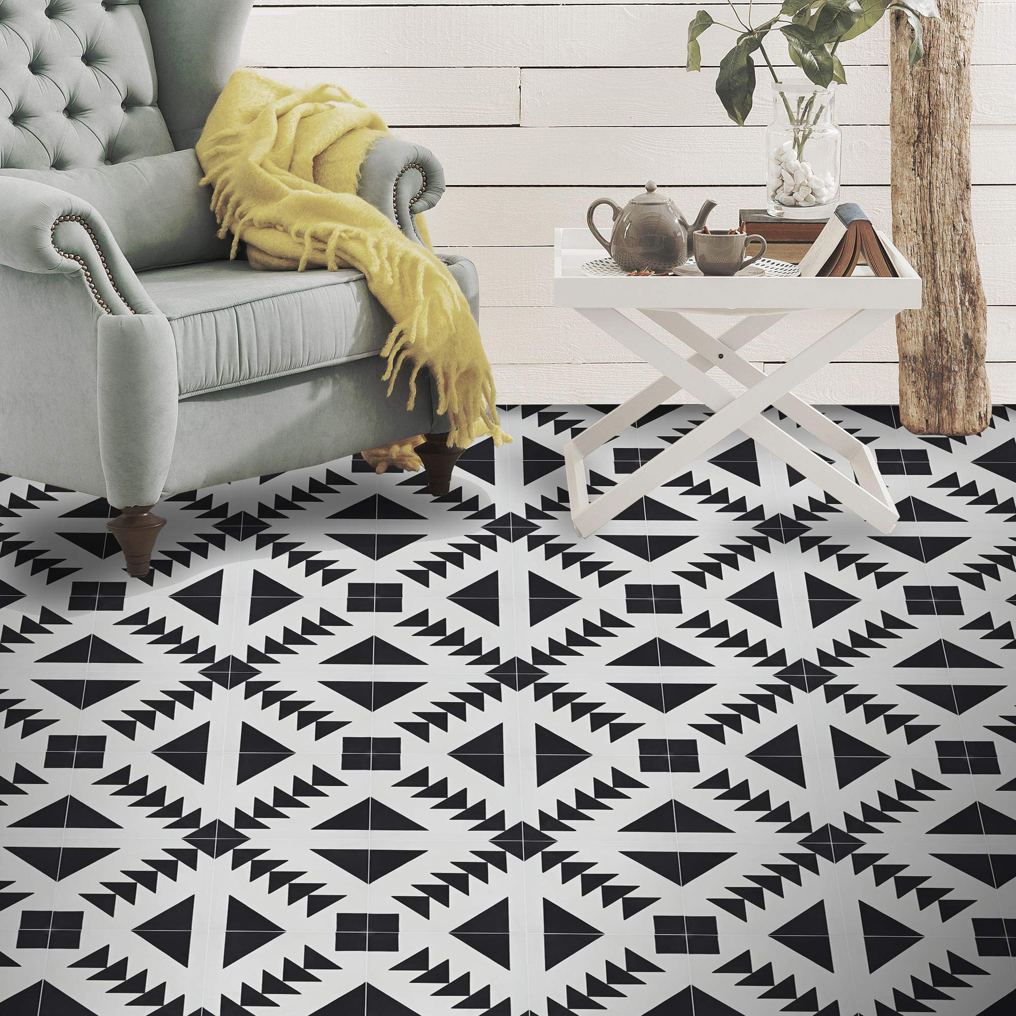Moroccan Mosaic & Tile House CTP60-01 Tadla Handmade Cement Tile in Black and White, Pack of 12 8''x8'',