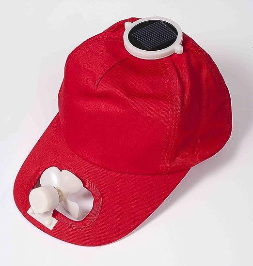 Ventilador de gorra Solar (rojo): Amazon.es: Jardín