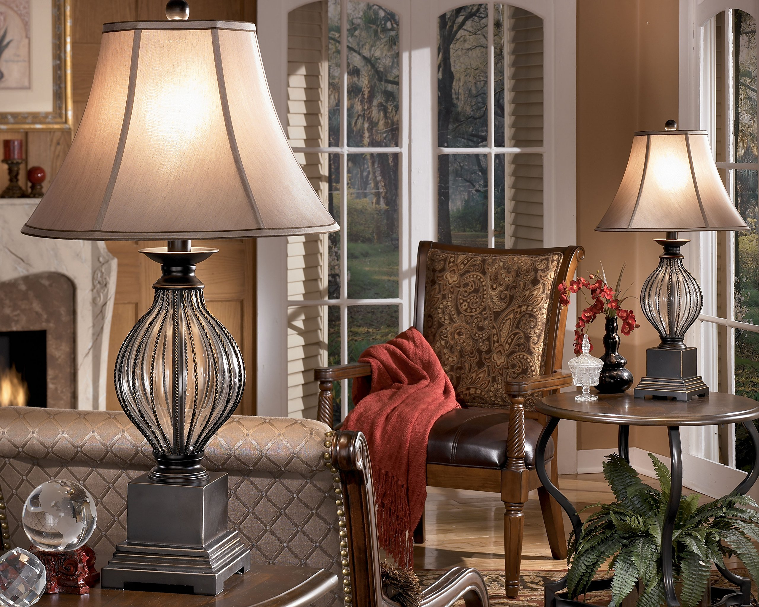 Signature Design by Ashley L442234 Ashley Furniture Signature Design - Ondreya Table Lamp - Traditional - Set of 2 - Bronze Finish, 17.0'' x 17.0'' x 31.0''