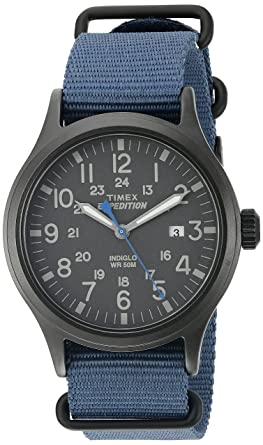 Timex Men s TW4B04800 Expedition Scout Blue Nylon Slip-Thru Strap Watch e958cc5ba7