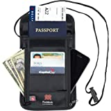 Pocklock Passport Document Holder -  Black Nylon Wallet with Rfid Blocking to Protect your Cards
