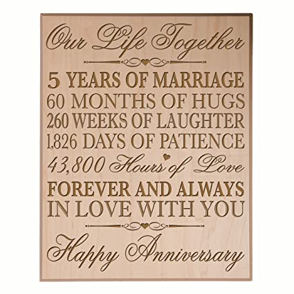Amazon.com: 5th Wedding Anniversary Wall Plaque Gifts for Couple ...
