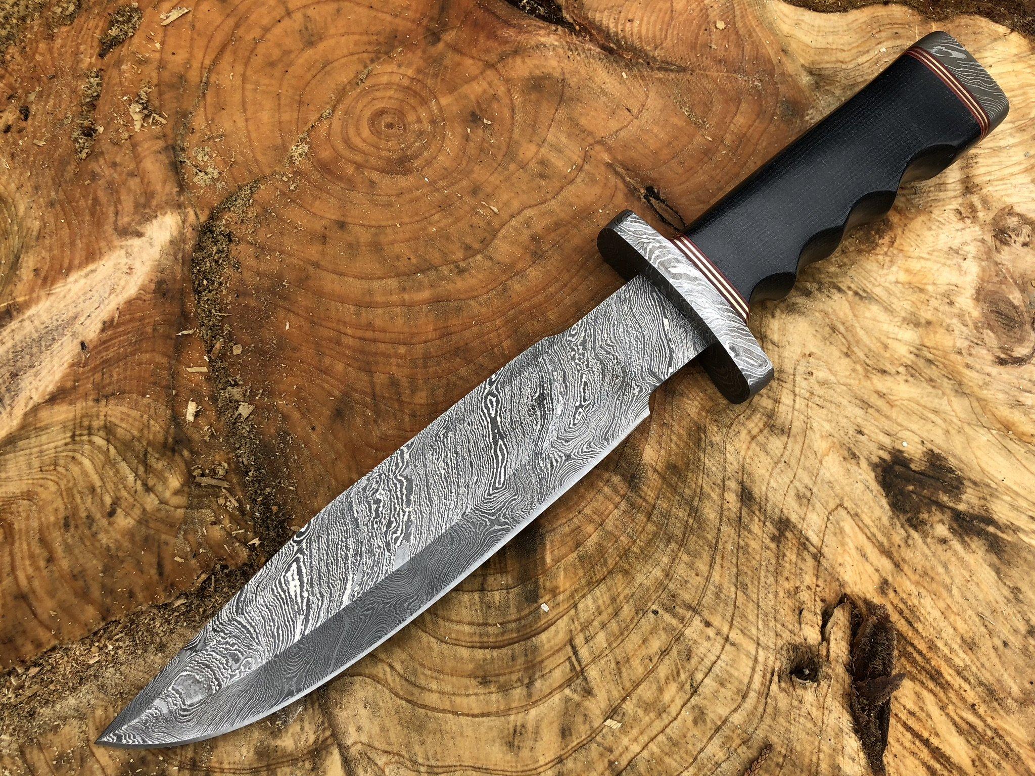 Damascus steel hunting knife handmade knife fixed blade (Black micarta handle and damascus guard)