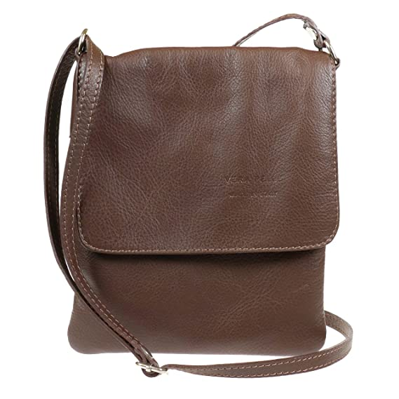 30d4161bef Ladies New Soft Italian Leather Flap Over Cross Body Messenger Bag F018S  (Choco)  Amazon.co.uk  Clothing