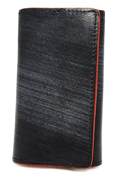 5a1b6c1fa5716b Amazon | ブラック F 本革 イタリアンレザー ブライドル レザー キーケース 6連 キーリング メンズ レディース 牛革 スマートキー  キーホルダー 鍵入れ 6本 鍵 ...