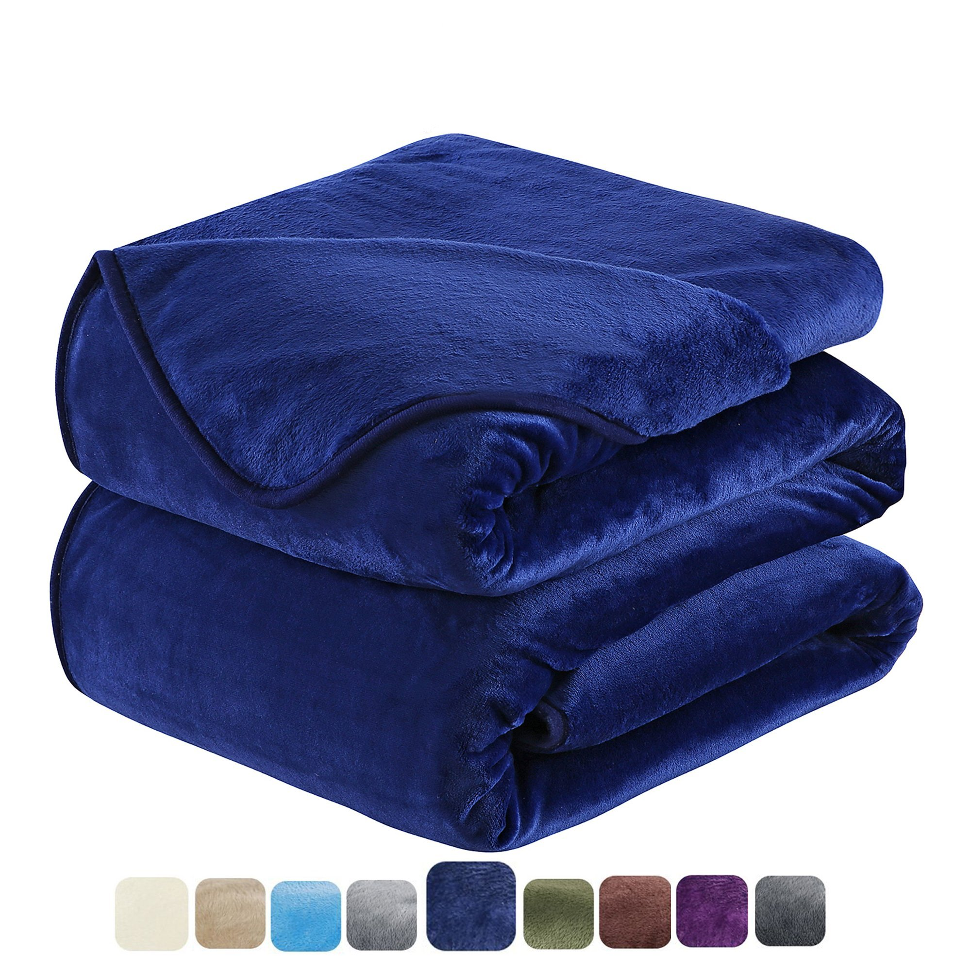 HOZY Fleece Blanket King Size Luxury Super Soft Warm Fuzzy Microplush Lightweight Hypoallergenic 350GSM Blankets For Bed Couch Sofa (King,Navy Blue)