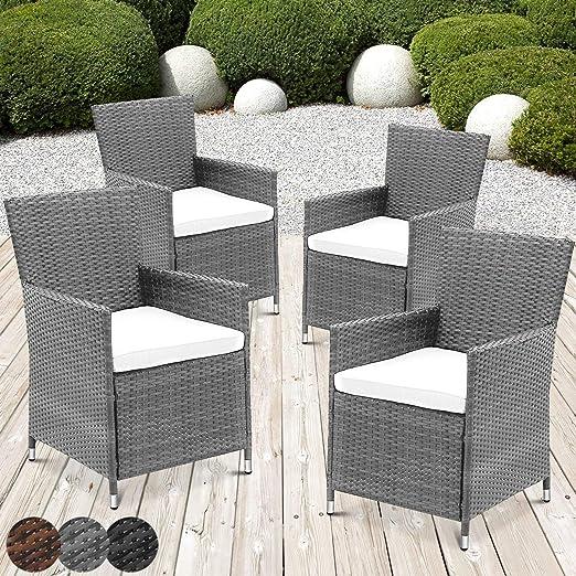 Nova - Juego de 4 sillones de jardín de ratán, Color Gris, con Cojines, sillas de ratán sintético para Exterior, Muebles de ratán, Gris: Amazon.es: Jardín