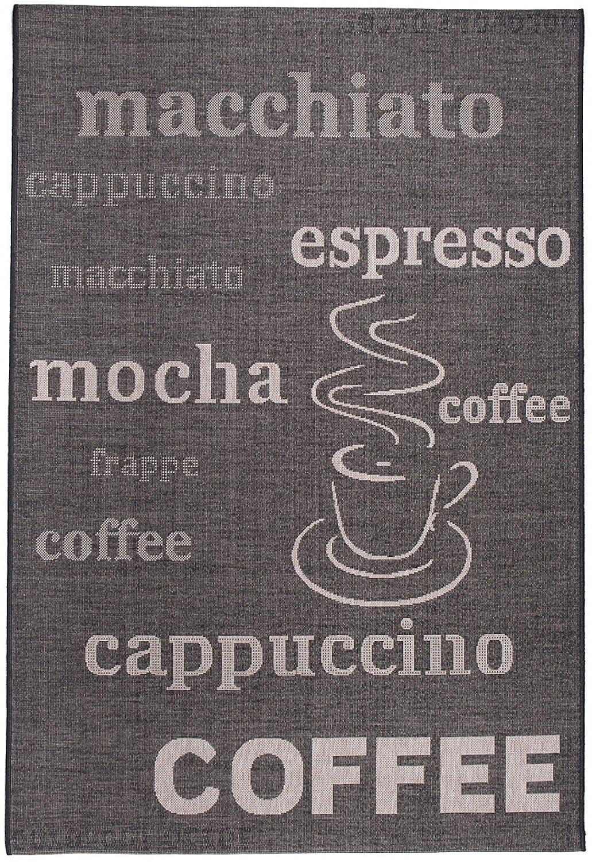 Tapiso FLOORLUX Teppich Sisal Optik Flachgewebe Strapazierfähig Schwarz Grau Silber Schrift Buchstaben Coffee Muster Designer Küche 200 x 290 cm
