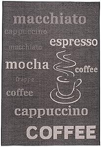 Tapis Cuisine COFFEE Inscriptions Noir Argenté Différentes Dimensions S-XXL (80 x 150 cm)
