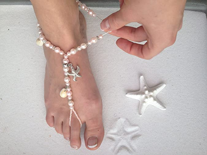 962659cf9ba3c8 Amazon.com: Pink Barefoot Sandals Beach Wedding Beaded Anklet with Starfish  and Real Seashells - Set of 2: Shoes