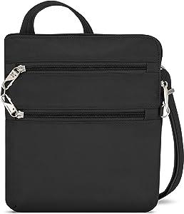 Travelon Anti-Theft Classic Slim Dbl Zip Crossbody Bag, Black, 9 x 10.5 x 1