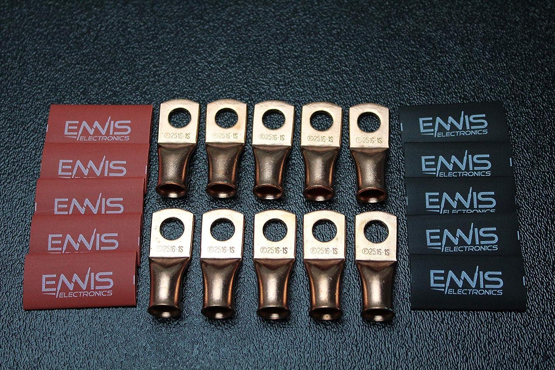 4 GAUGE COPPER 5//16 RING 10 PK W// HEATSHRINK RED//BLACK LUG BATTERY AWG CUR4516