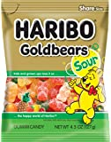Haribo Gummi Candy, Goldbears Gummi Candy, Sour, 4.5 oz. Bag (Pack of 12)
