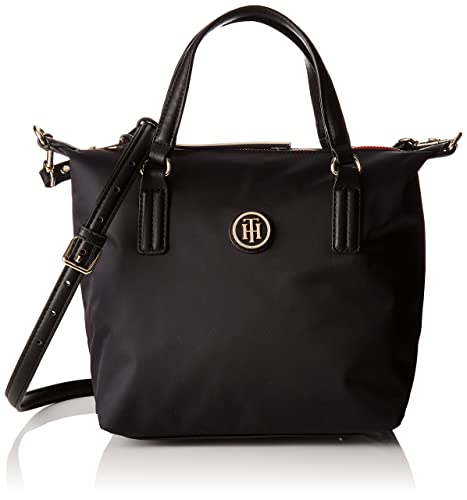 03d391eee90 Tommy Hilfiger Womens Poppy Small Tote Canvas and Beach Tote Bag Black  (Black)
