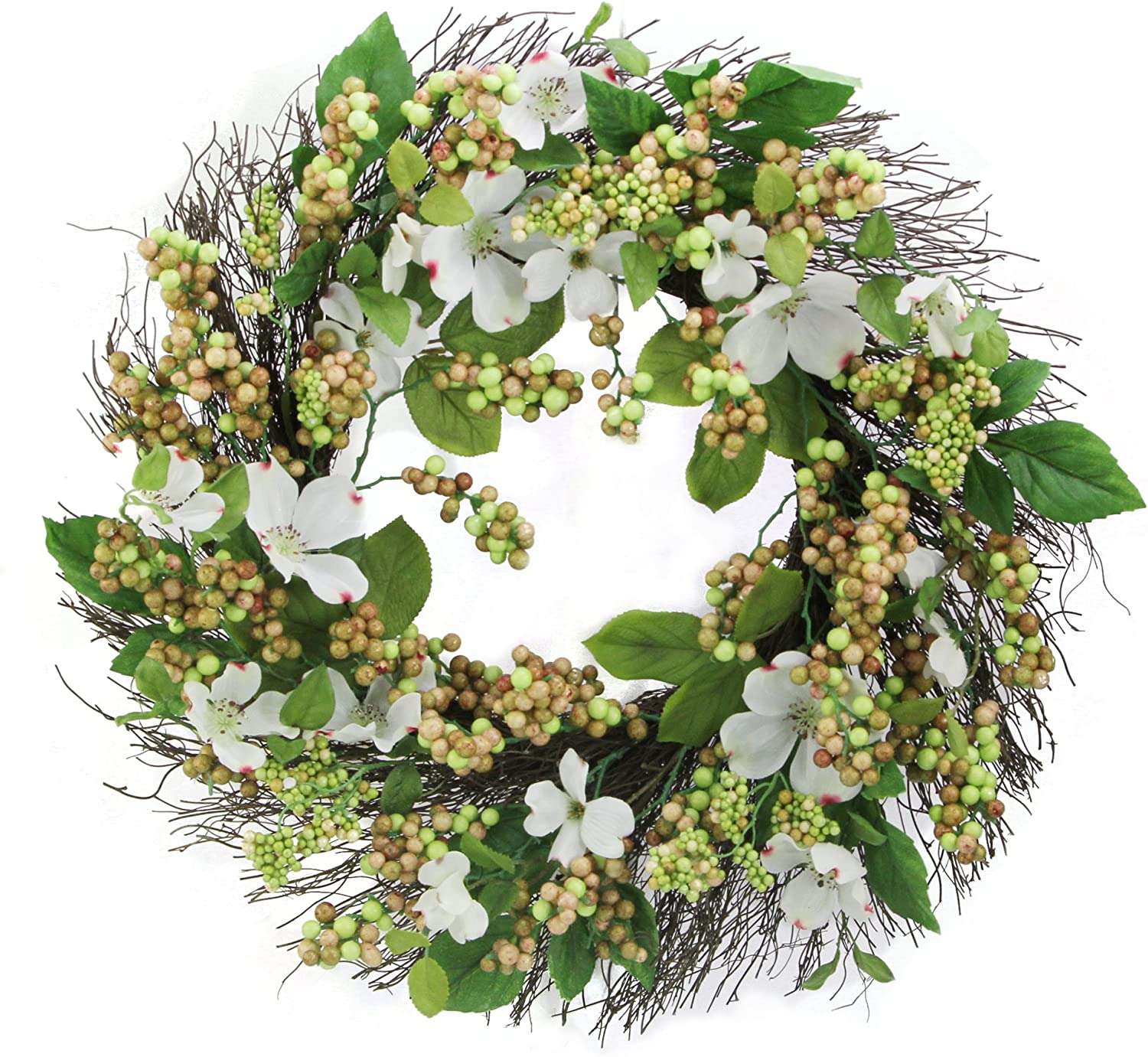 "Admired By Nature 24"" Dogwood, Berry Spring Greenery for Home Office Front Door Wreath, Wall Hanging Arrangement Decoration"