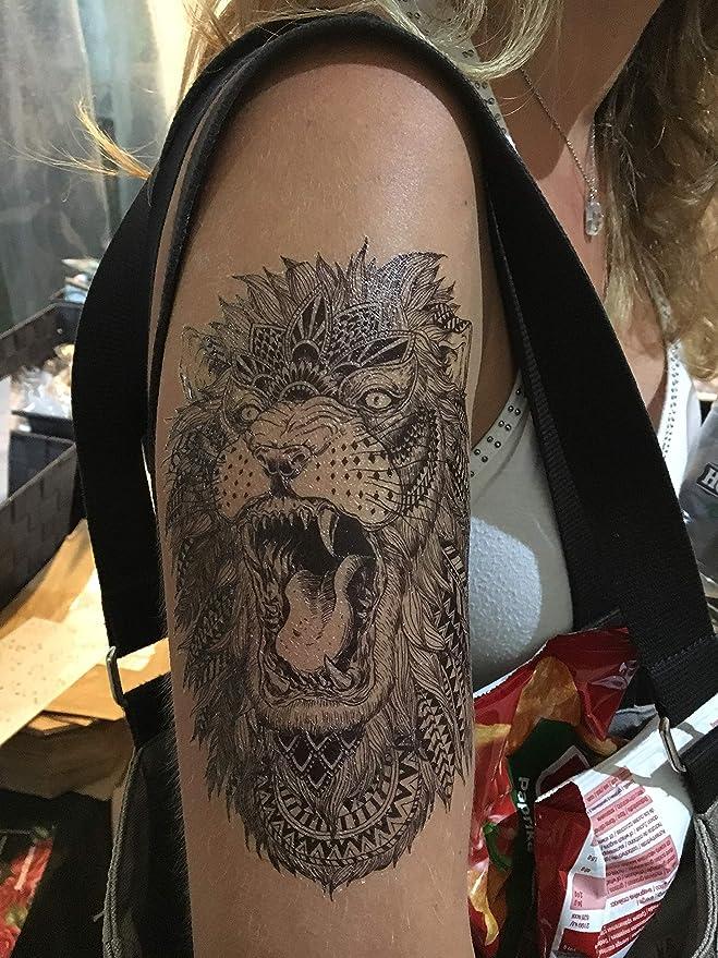 4 tatuajes de leones, negros y multicolor, falsos: Amazon.es: Belleza