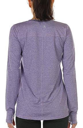 icyzone Damen Langarm Shirt Sport Funktionsshirt - Atmungsaktive Laufshirt Fitness  Workout Longsleeve Tops mit Daumenloch ( 63e24841c4