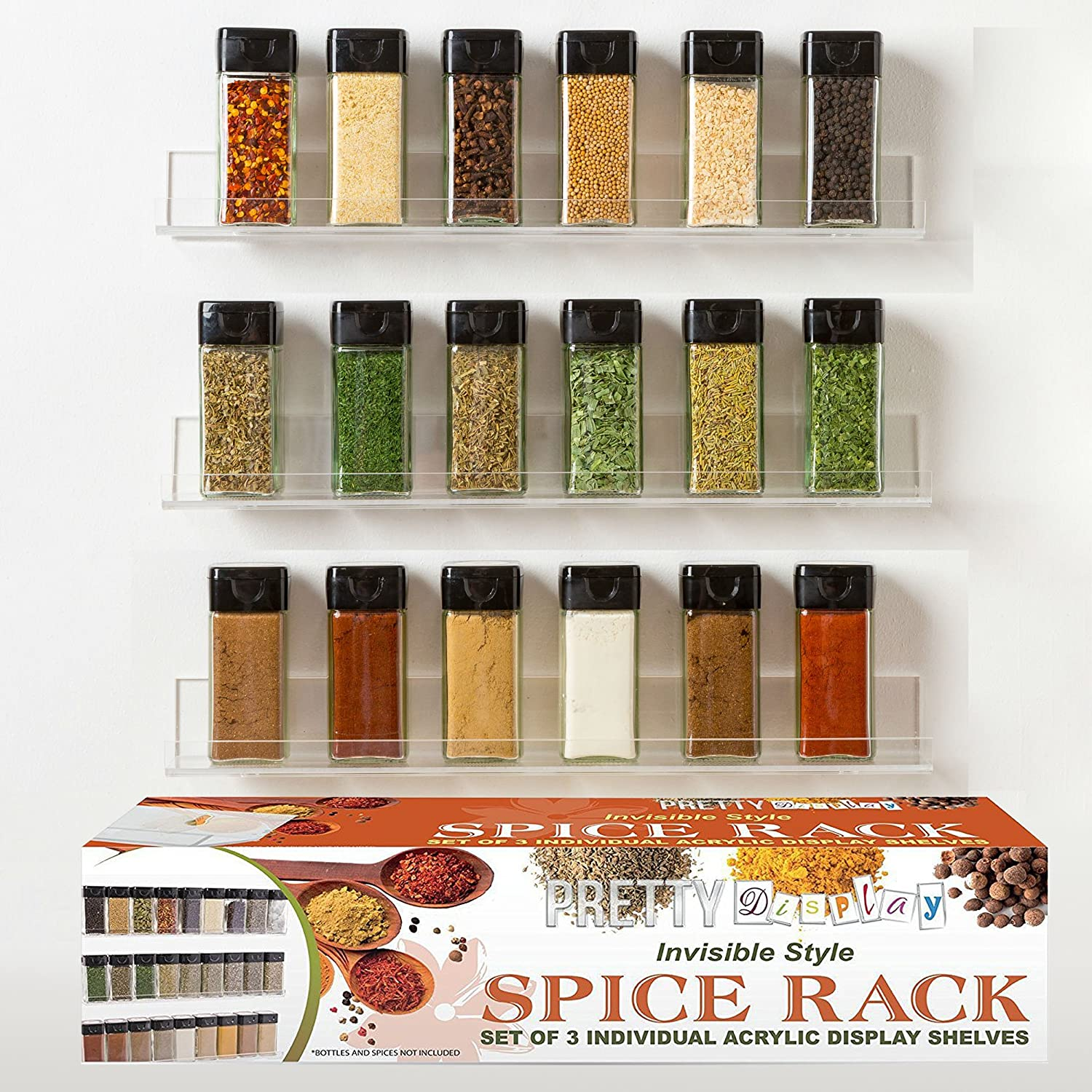 Amazoncom The Invisible Acrylic Spice Rack Strong, Sturdy, Space Saving, Three