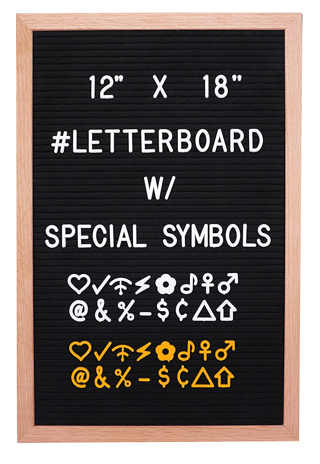 12'x18' Premium Black Felt Letter Board with 290 White and Extra 290 Gold Characters (1'') Included | Oak Wood Frame | Bonus Canvas Letter Bag - by Hippo Creation