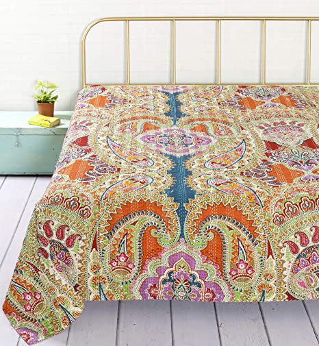 HANDICRAFT-PALACE Paisley Design Kantha Stitched Quilt Bedspread Gudari Hand Printed Cotton Bedding Quilt for Double (Multi Color)