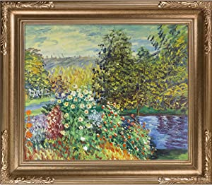 overstockArt Dark Champagne Finish Corner of the Garden at Montgeron by Claude Monet with Florentine Dark Champagne Frame
