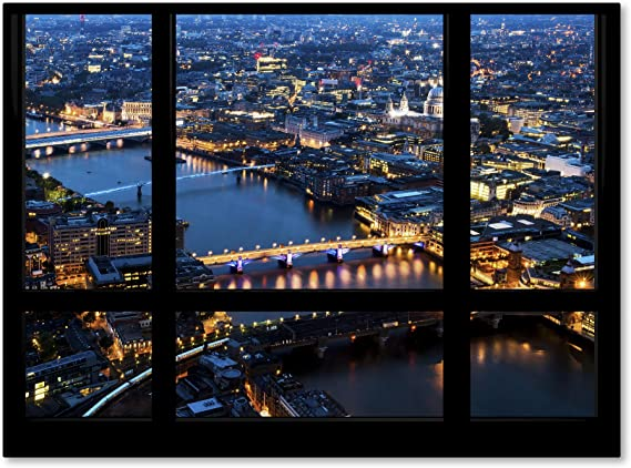 Window View London By Night 7 By Philippe Hugonnard Wall Decor 35 X 47 Canvas Wall Art Posters Prints