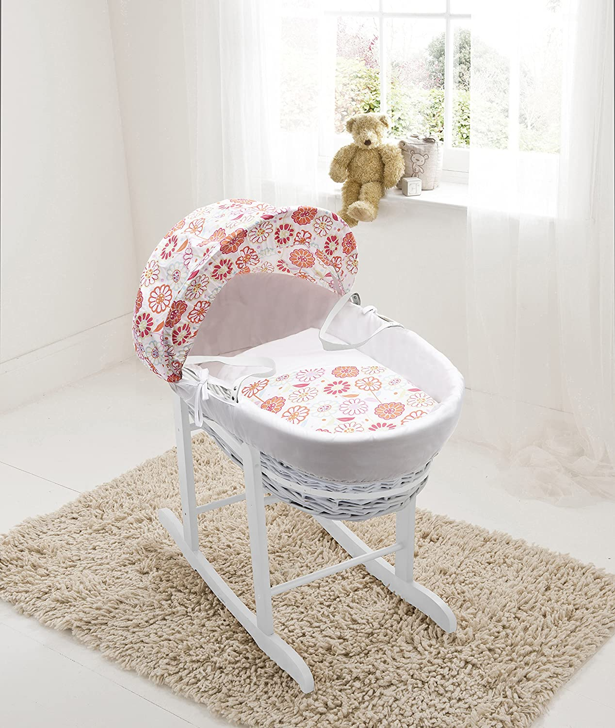 Funky Flowers White Wicker Moses Basket & Deluxe White Rocking Stand Elegant Baby