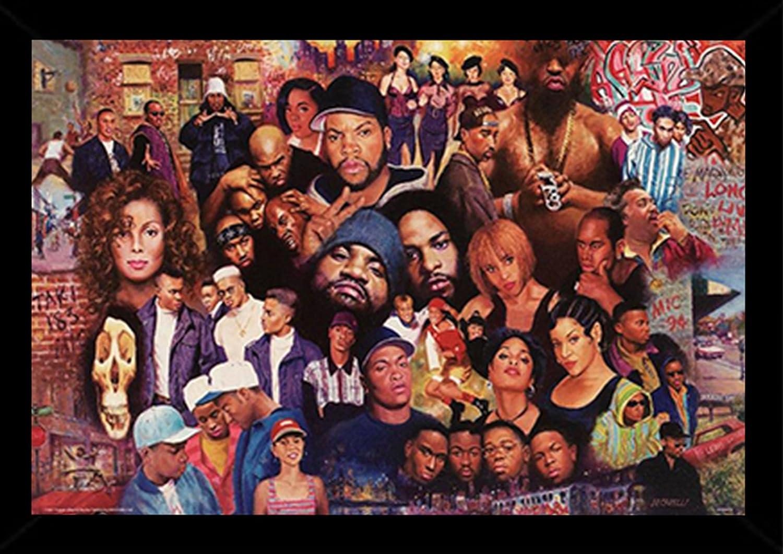 Legends Of Rap /& Hip Hop Poster in a Black Poster Frame 24x36 24508-PSA010012