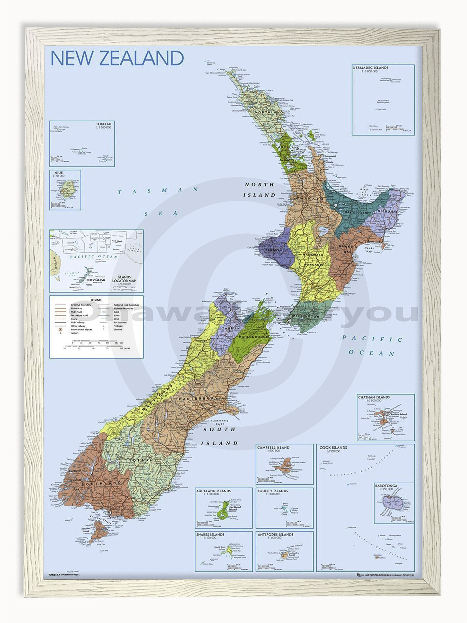 Laminated Posters Framed - Map of New Zealand - Push Pin Memo Notice Board - White Driftwood Effect - Matt Finish - Measures 96.5 x 66 cms (38 x 26 inches - Approx)