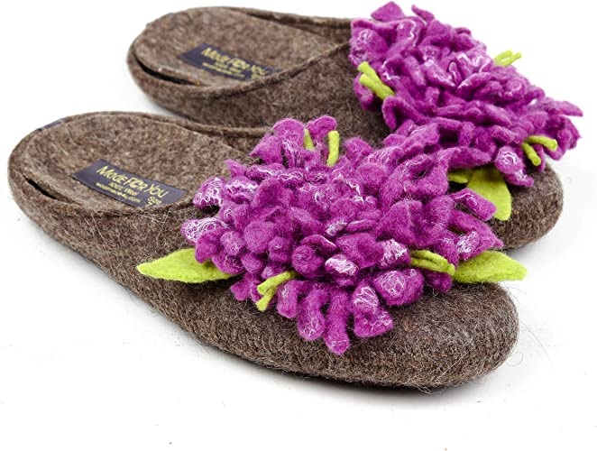 Sheep Wool Cozy Foot Slippers Unisex Lightweight WARM COMFORT Brown Non Slip