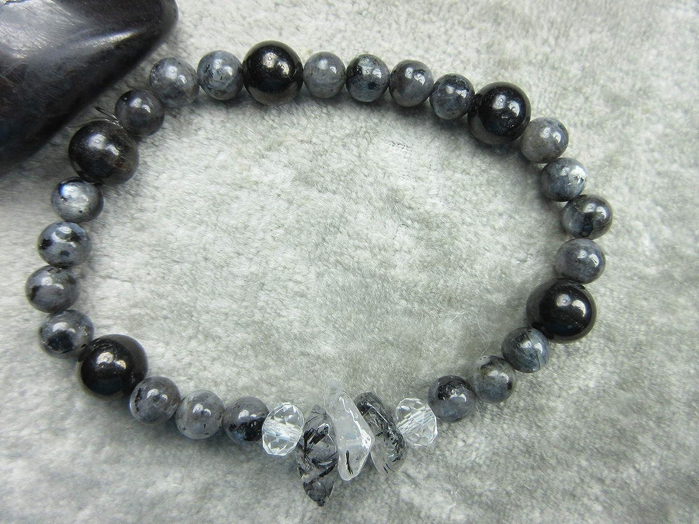 Arfvedsonite Genuine Larvikite Tourmilated Quartz and Shungite Healing Bracelet EMF Protection Lucid Dreaming