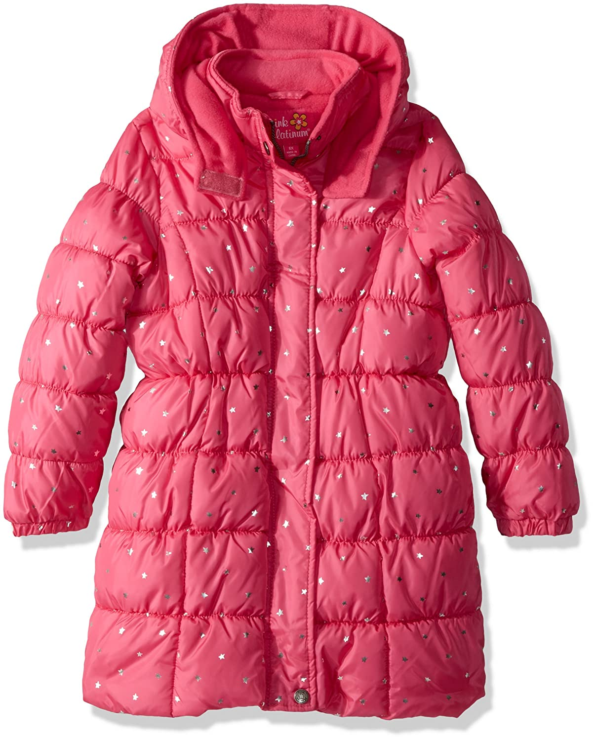 Pink Platinum Girls Foil Star Long Puffer 94578