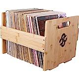 Sound Stash High End Bamboo Record Crate, Holds Up to 80 Records, Record Storage, Record Holder, Record Organizer, Vinyl Storage, LP Box, Vinyl Crate, Vinyl Organizer, Milk Crate (Natural)