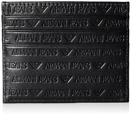 52ecd0f45fa Armani Jeans Hommes Portefeuille de cartes de Logo en cuir Noir Une Taille   Amazon.fr  Vêtements et accessoires