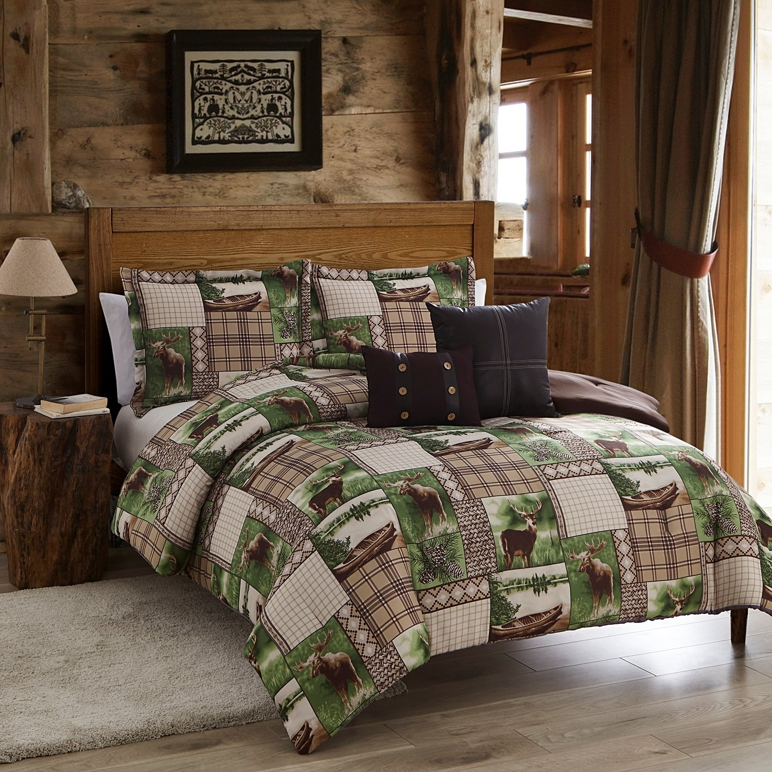 Amazon 5 Piece Lodge Inspired Patchwork Pattern forter Set