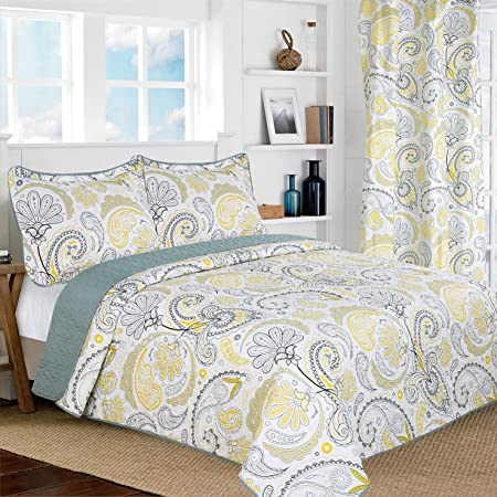 6 Piece Yellow//Gray//White Floral Reversible Bedspread//Quilt Set