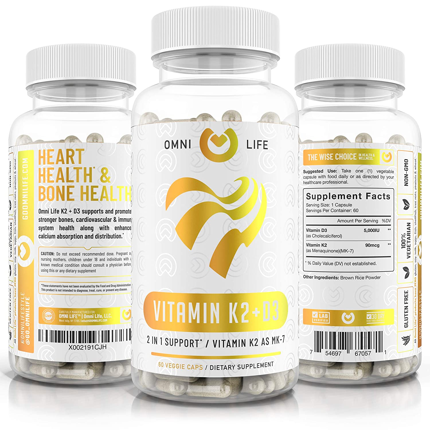 Vitamin D3 With K2 (MK7) Supplement - Premium Natural Heart & Bone Health Capsules - NON-GMO, Gluten Free & Vegetarian D3 Plus K2 Complex with 5000 IU of Vitamin D 3 & 90 mcg of Vitamin K 2 - 60 Count