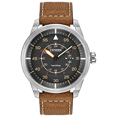 8687e39b6ef357 Amazon.com: Citizen Men's Eco-Drive Brown Leather Strap Watch with Date,  AW1361-10H: Citizen: Watches