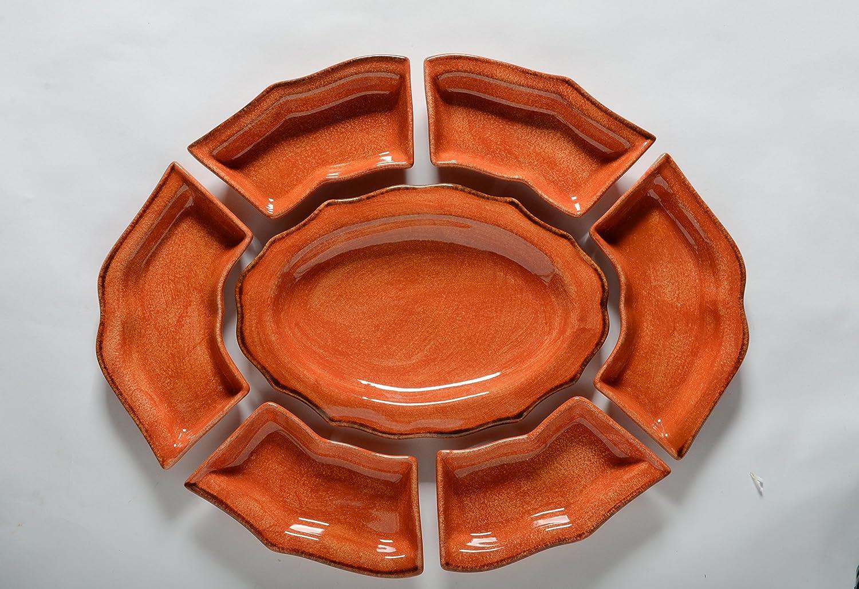 イタリア食器類 – ハンドメイドのイタリアからOur Taorminaコレクション TA2034-P  Seven Piece Hostess Set B00Y9GNVHA
