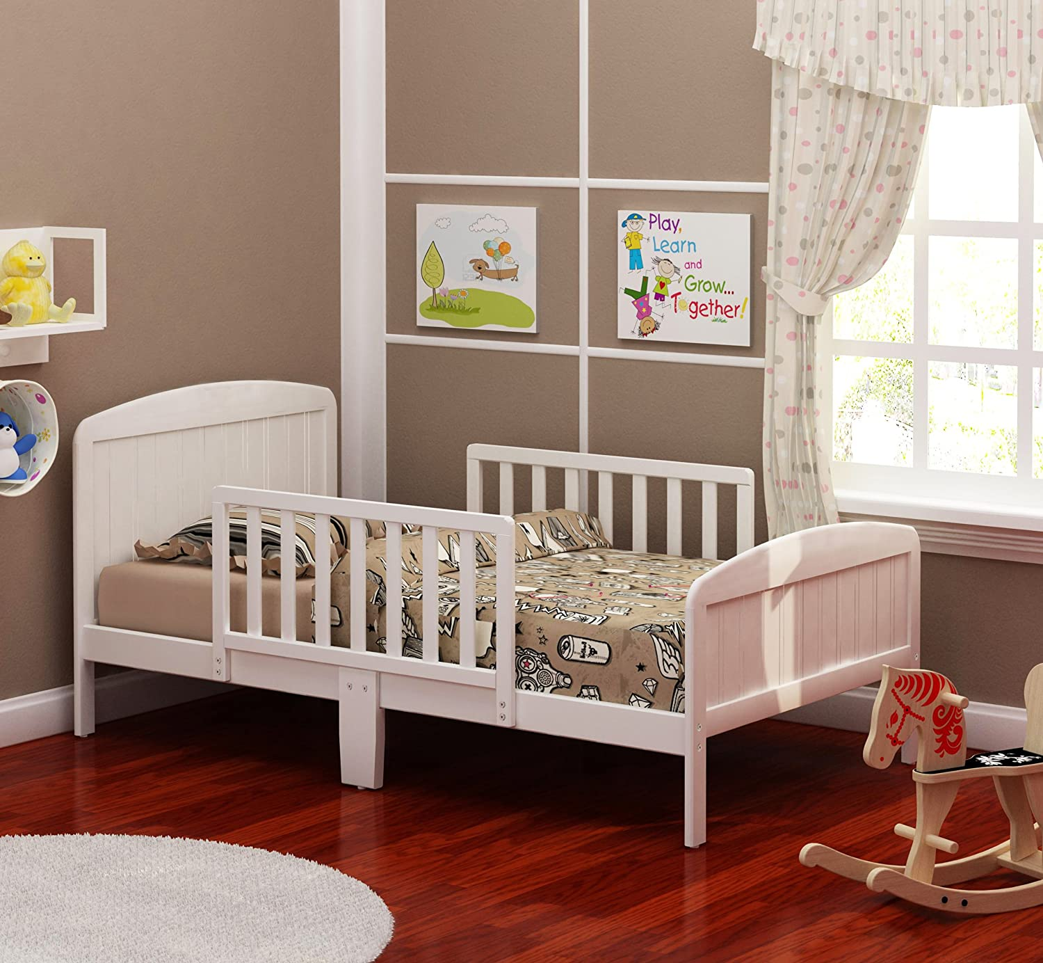 amazoncom russell children products harrisburg wood toddler bed warm white kitchen u0026 dining