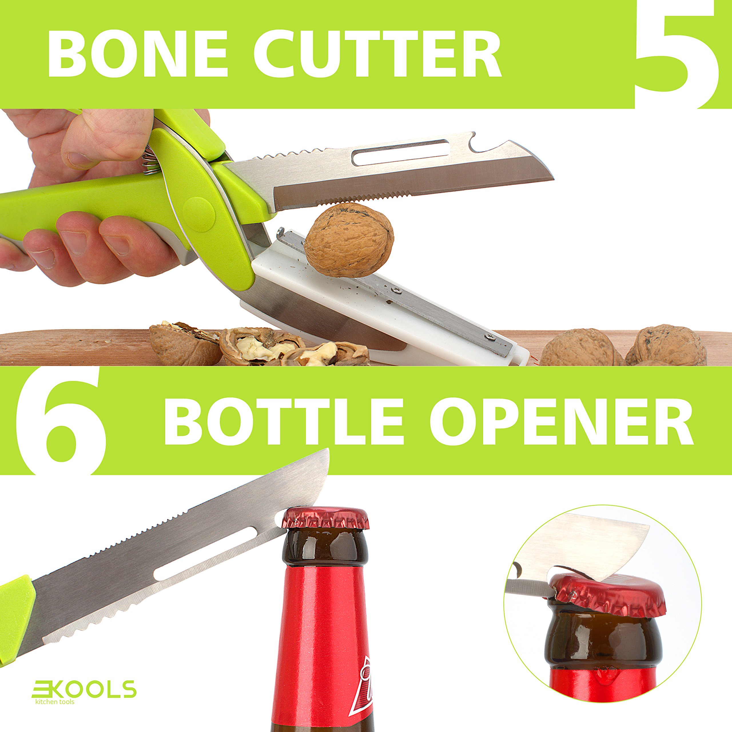 kools Clever 8-in-1 Food Chopper Set - with Chopping Board and Detachable Knife, Ideal as Vegetable and Meat Chopper or Slicer, Bottle Opener, Peeler, including Sharpener and Finger Guard by kools (Image #6)